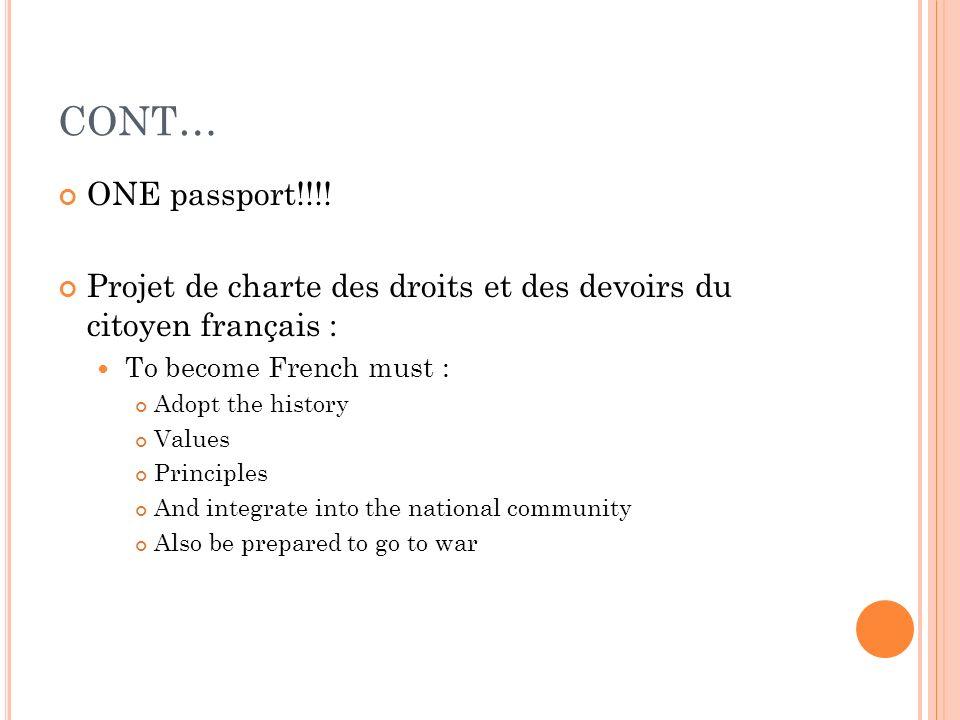 CONT… ONE passport!!!! Projet de charte des droits et des devoirs du citoyen français : To become French must :