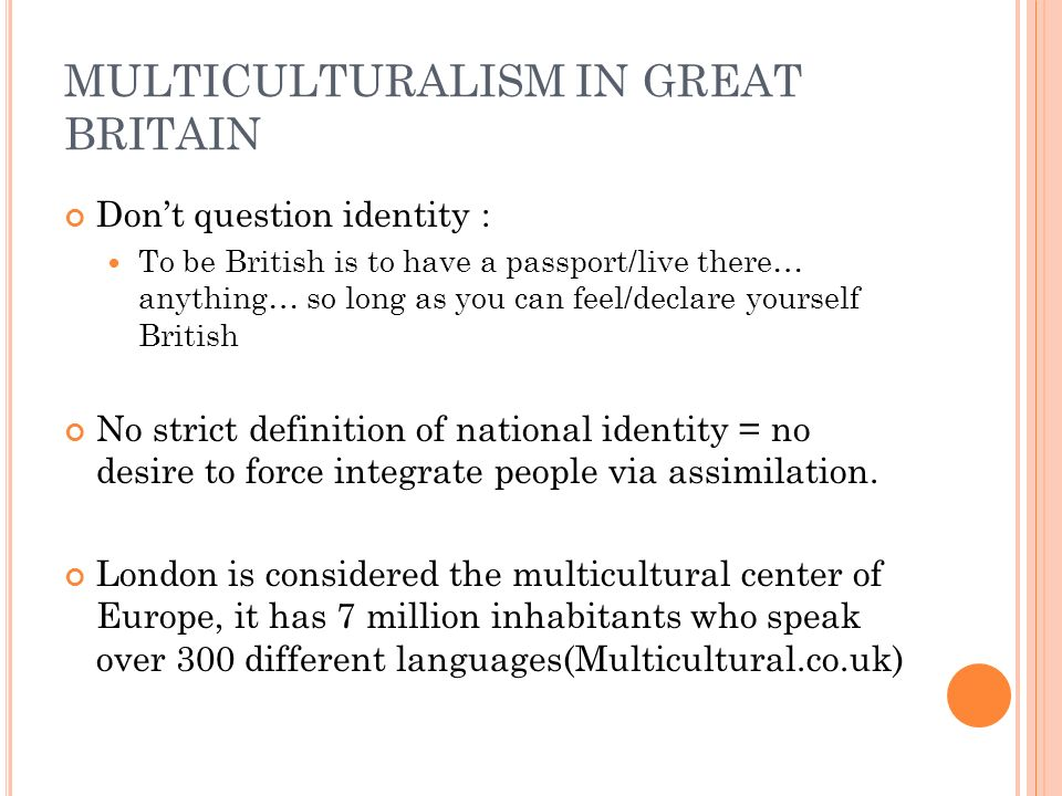 MULTICULTURALISM IN GREAT BRITAIN