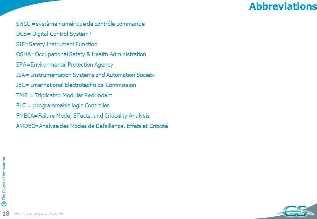 Abbreviations SNCC =système numérique de contrôle commande