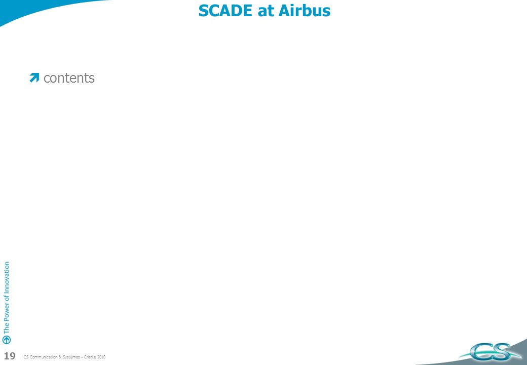 SCADE at Airbus contents