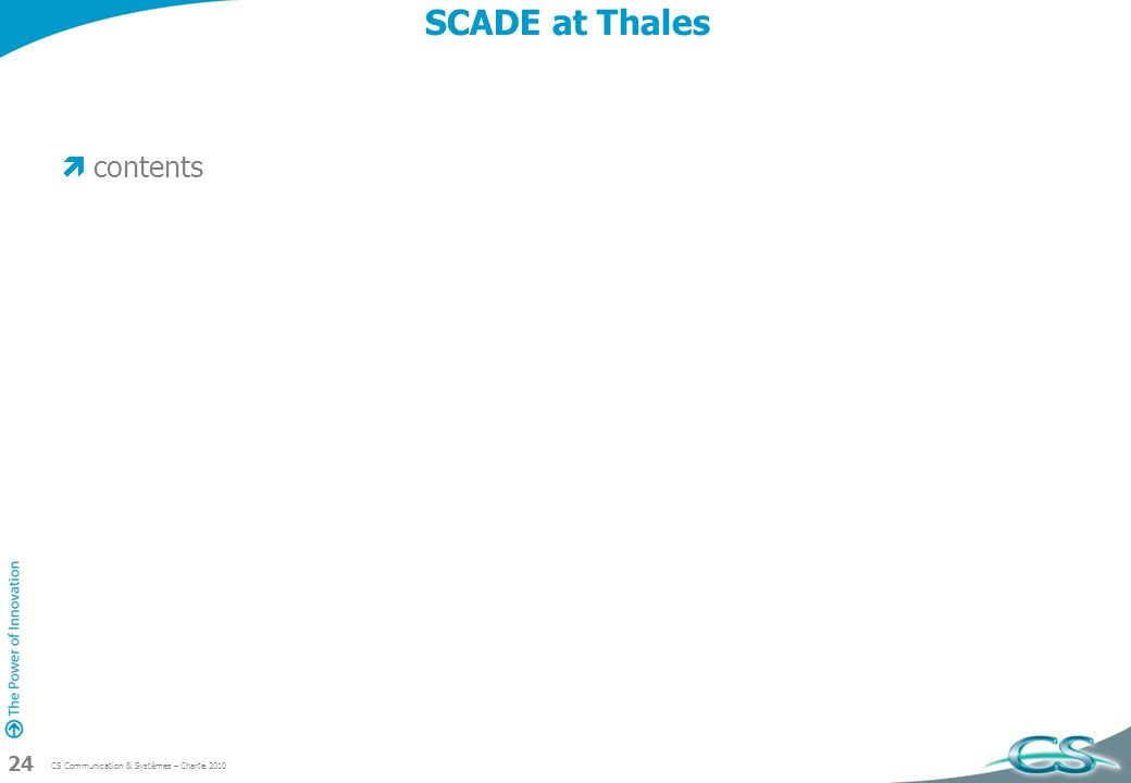 SCADE at Thales contents