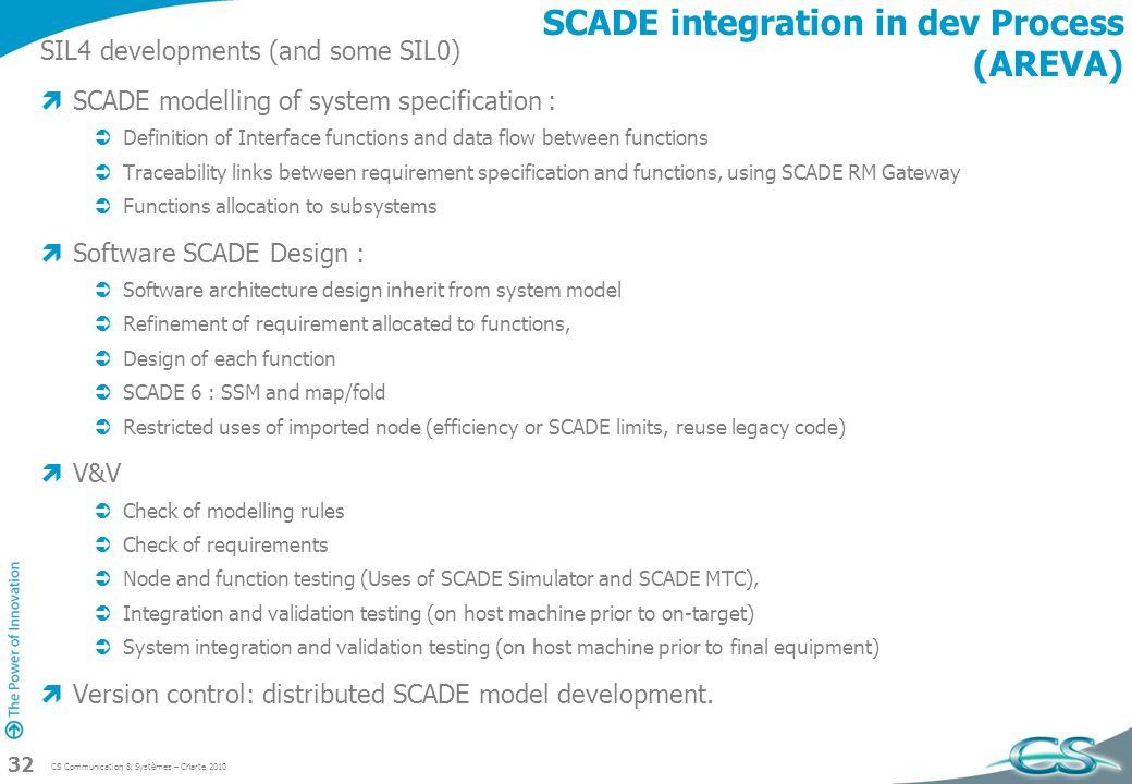SCADE integration in dev Process (AREVA)