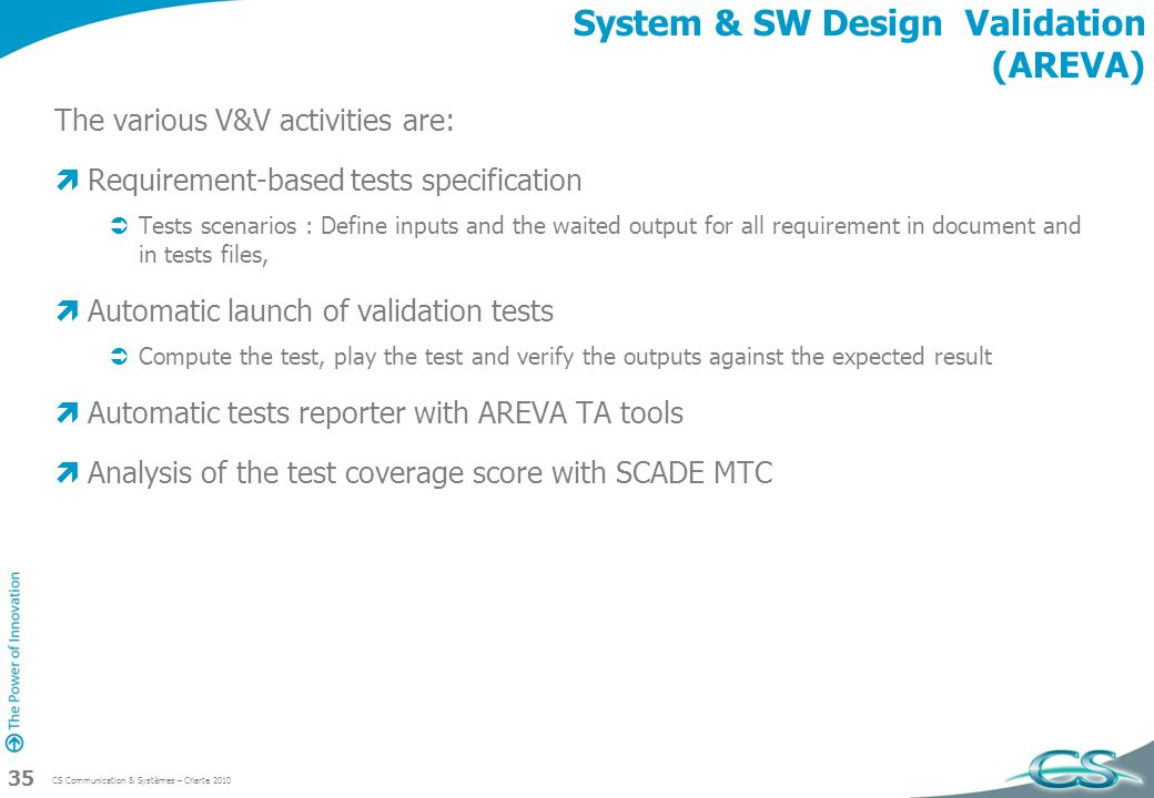 System & SW Design Validation (AREVA)