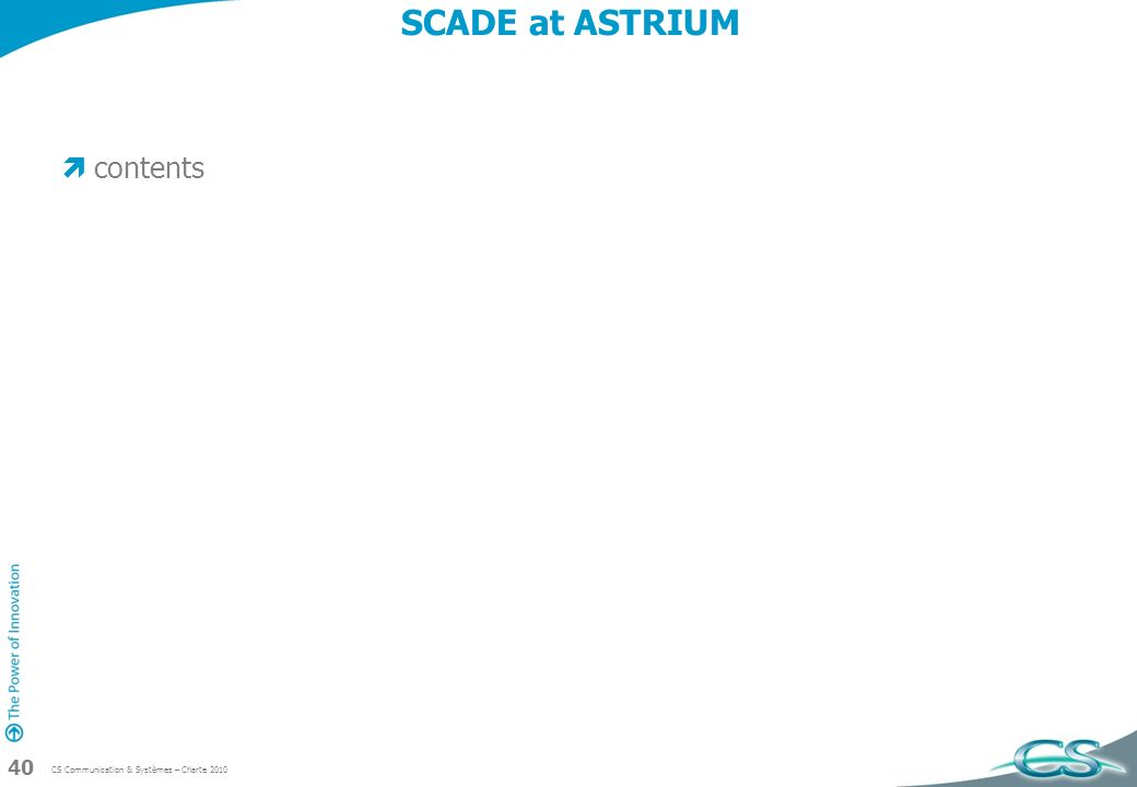 SCADE at ASTRIUM contents