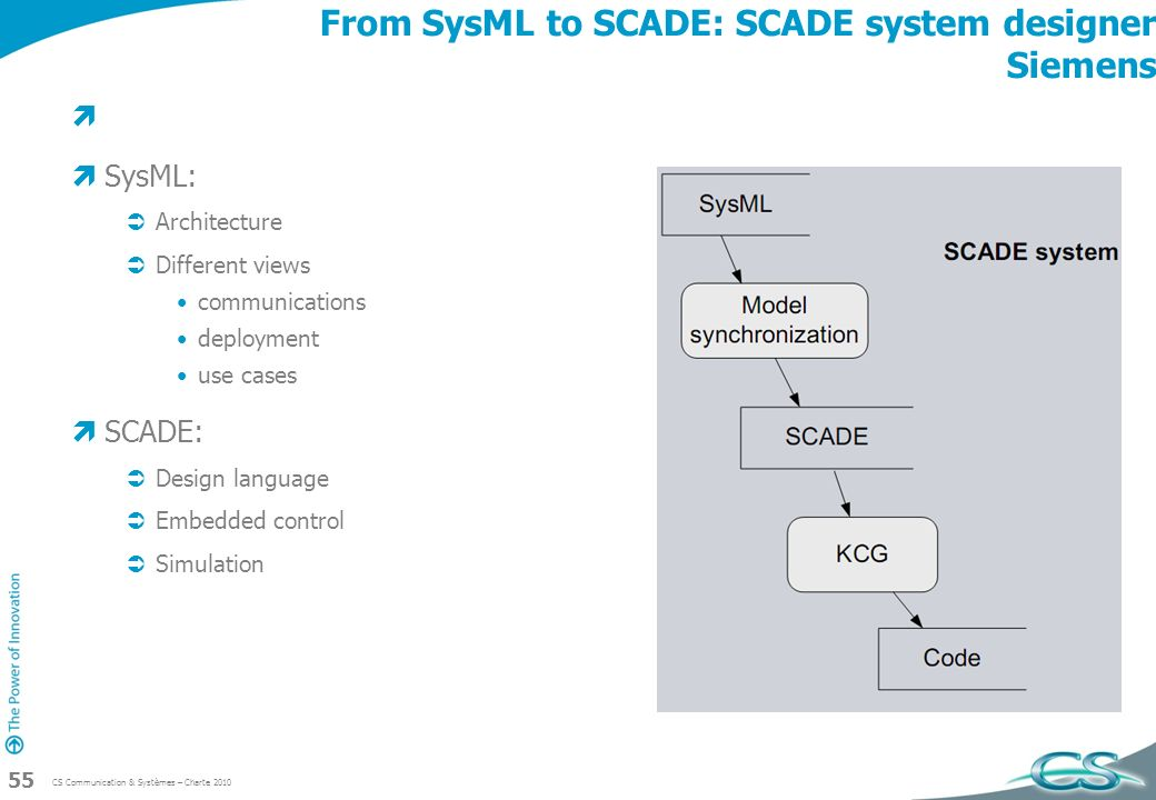 From SysML to SCADE: SCADE system designer Siemens