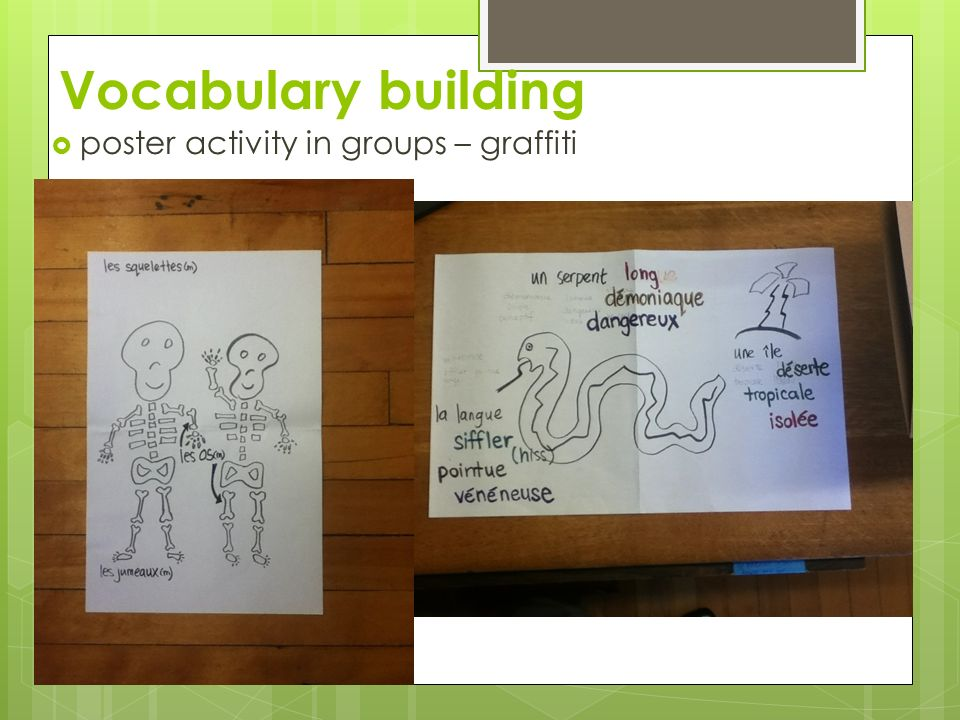Vocabulary building poster activity in groups – graffiti
