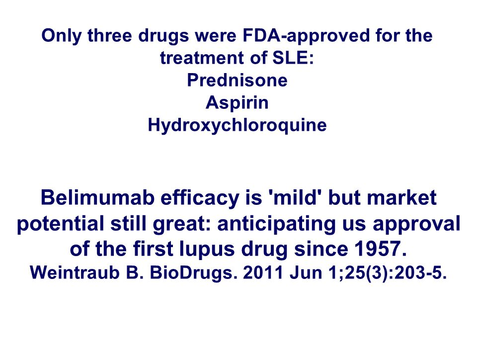Only three drugs were FDA-approved for the treatment of SLE: