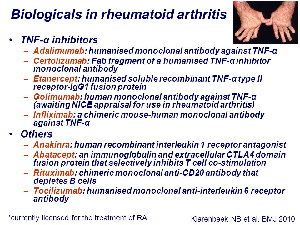 Biologicals in rheumatoid arthritis