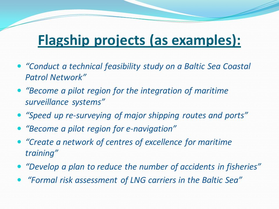 Flagship projects (as examples):