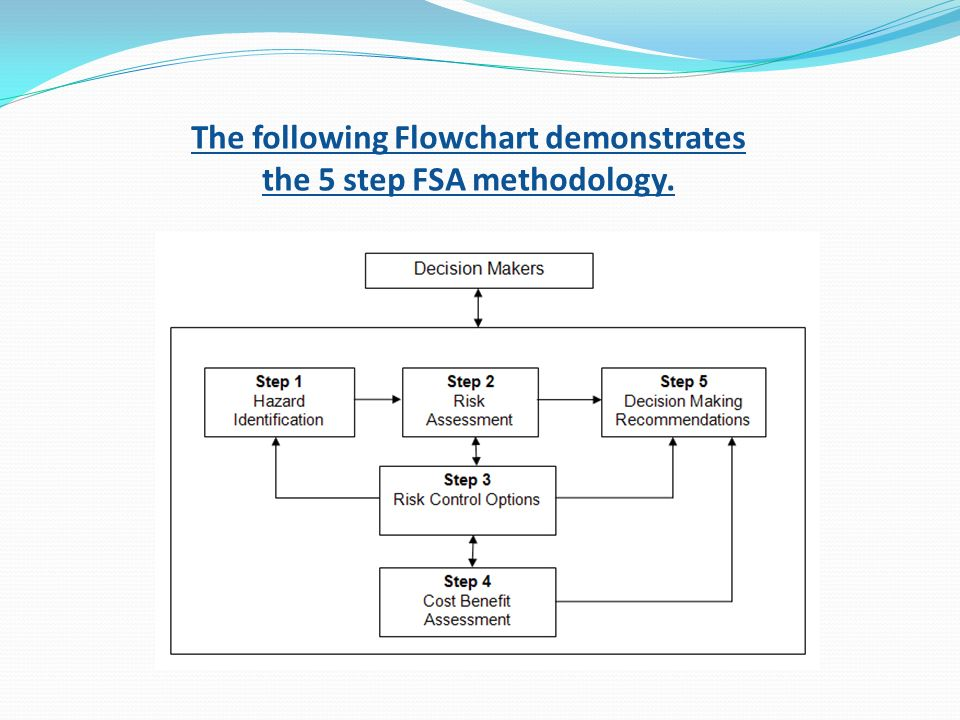 The following Flowchart demonstrates the 5 step FSA methodology.