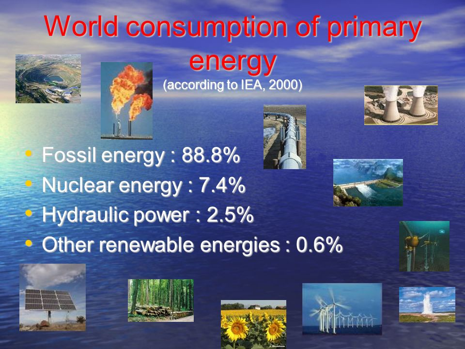World consumption of primary energy (according to IEA, 2000)