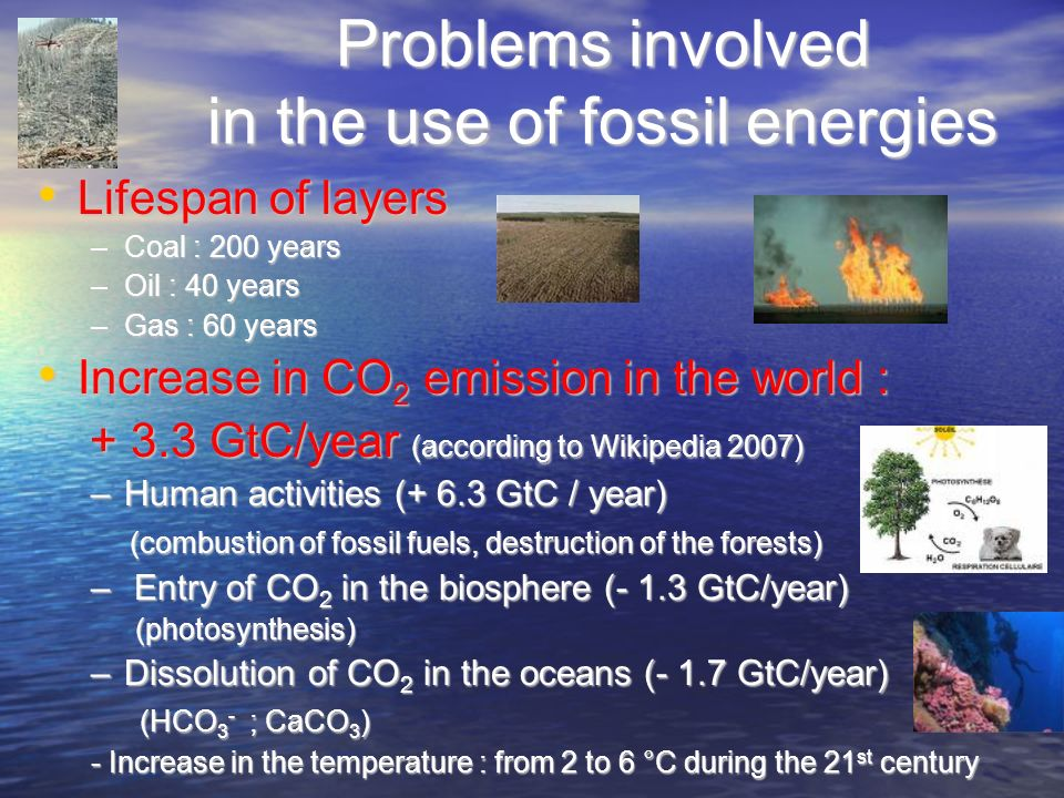Problems involved in the use of fossil energies