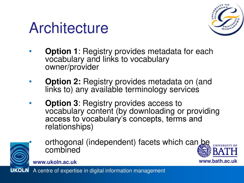 Architecture Option 1: Registry provides metadata for each vocabulary and links to vocabulary owner/provider.