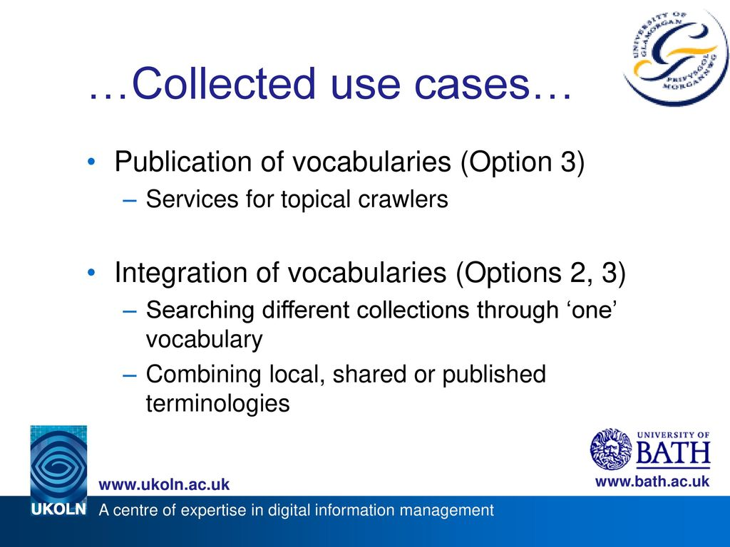 …Collected use cases… Publication of vocabularies (Option 3)