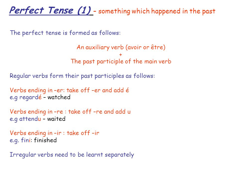 Perfect Tense (1) – something which happened in the past