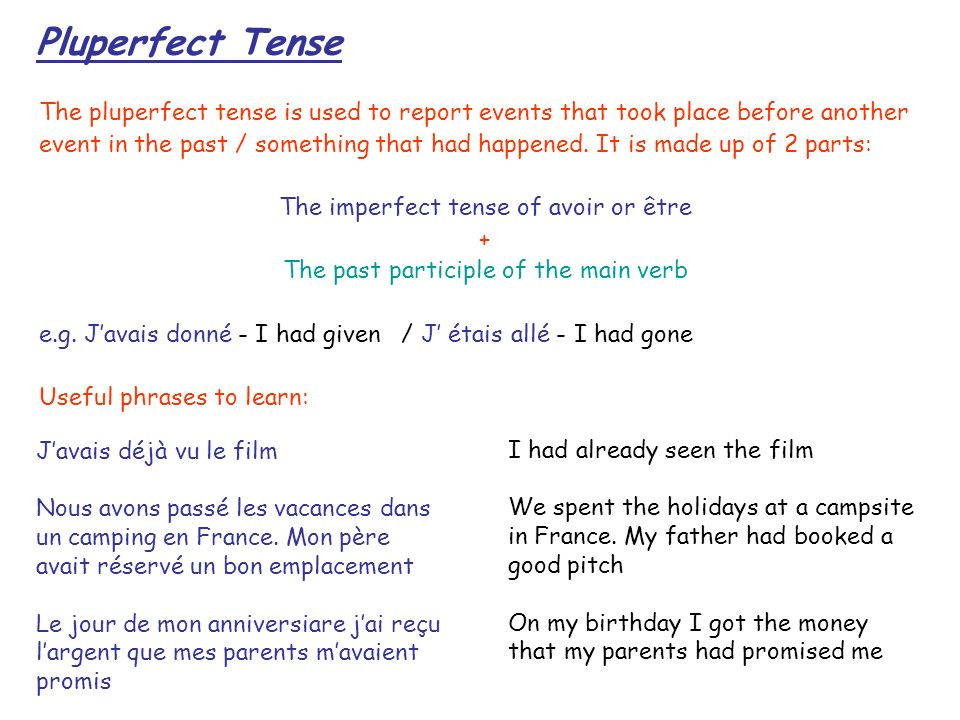 Pluperfect Tense The pluperfect tense is used to report events that took place before another.