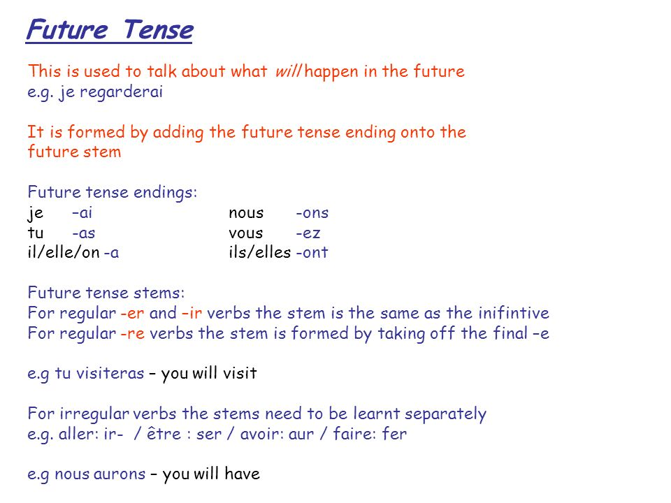 Future Tense This is used to talk about what will happen in the future