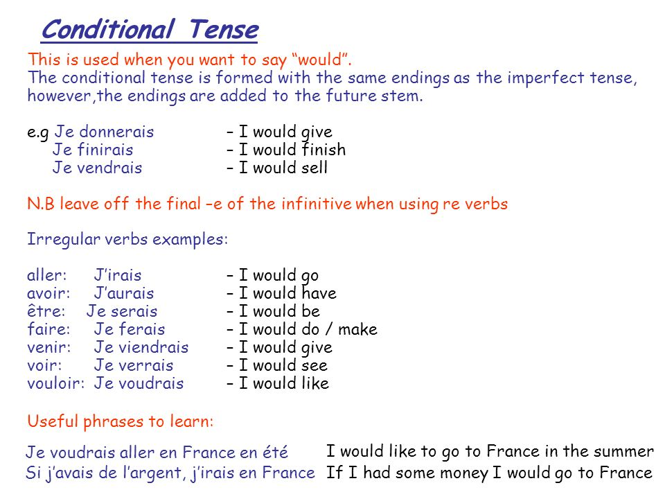 Conditional Tense This is used when you want to say would .