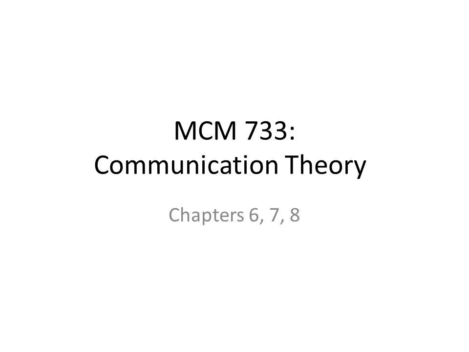 MCM 733: Communication Theory