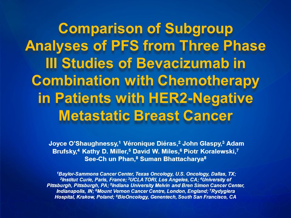 Comparison of Subgroup Analyses of PFS from Three Phase III Studies of Bevacizumab in Combination with Chemotherapy in Patients with HER2-Negative Metastatic Breast Cancer