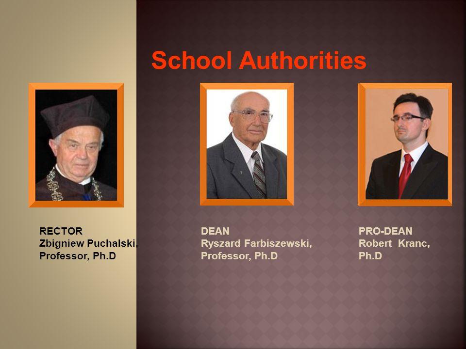 School Authorities RECTOR Zbigniew Puchalski, Professor, Ph.D DEAN