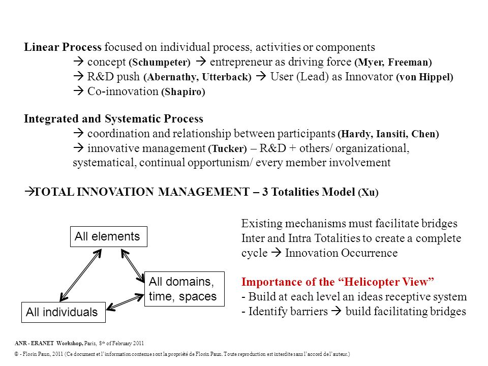 Innovation models Linear Process focused on individual process, activities or components.