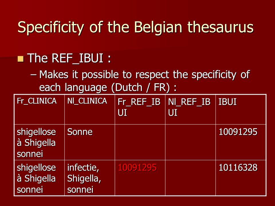 Specificity of the Belgian thesaurus