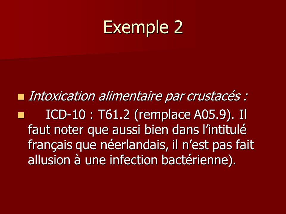 Exemple 2 Intoxication alimentaire par crustacés :