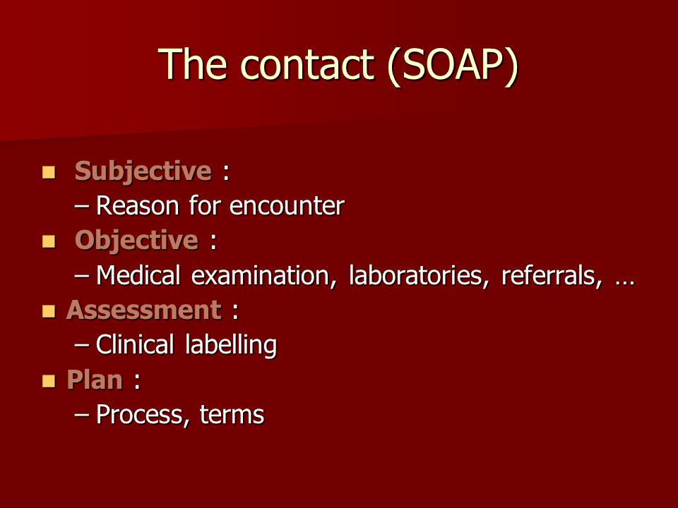 The contact (SOAP) Subjective : Reason for encounter Objective :