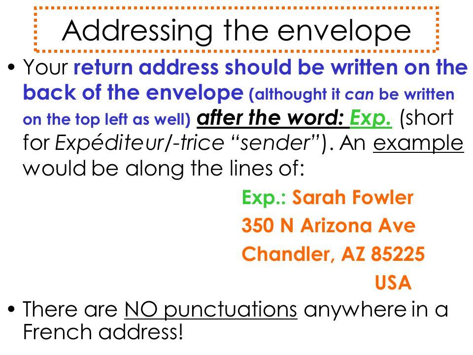 Addressing the envelope