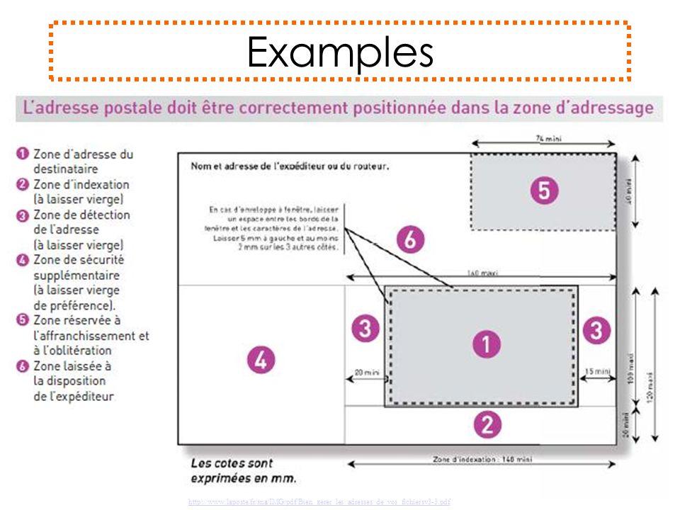 Examples http://www.laposte.fr/sna/IMG/pdf/Bien_gerer_les_adresses_de_vos_fichiersv3-3.pdf
