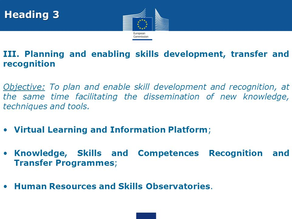 Heading 3 III. Planning and enabling skills development, transfer and recognition.