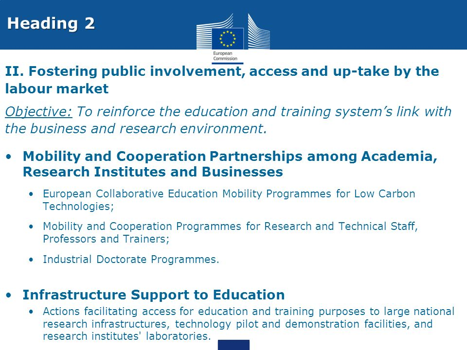 Heading 2 II. Fostering public involvement, access and up-take by the labour market.