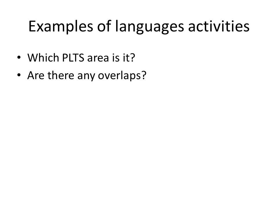 Examples of languages activities
