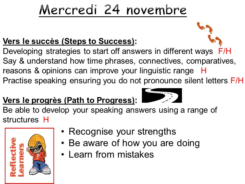 Mercredi 24 novembre Recognise your strengths