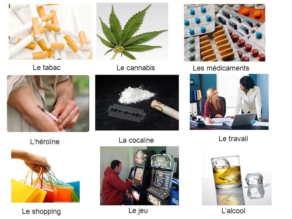 Le tabac Le cannabis Les médicaments Le travail L'héroïne La cocaïne Le shopping Le jeu L'alcool