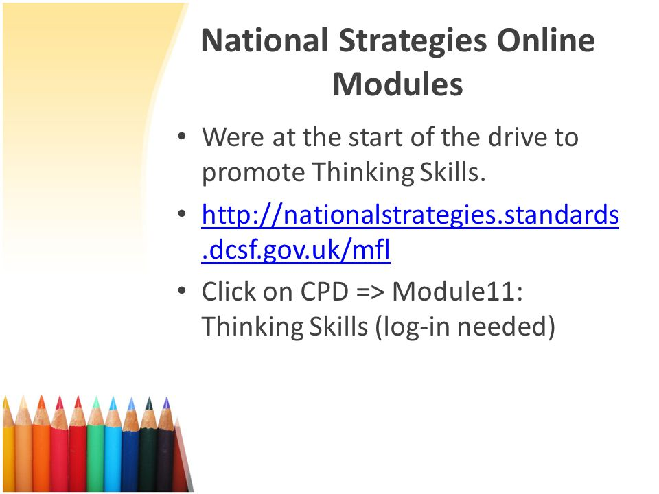 National Strategies Online Modules