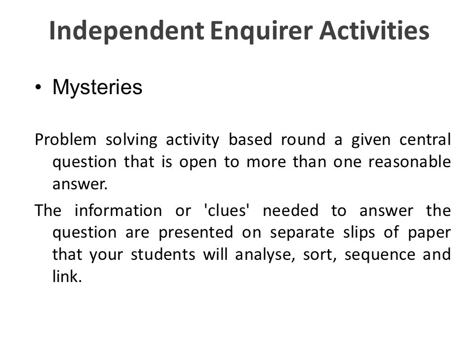 Independent Enquirer Activities