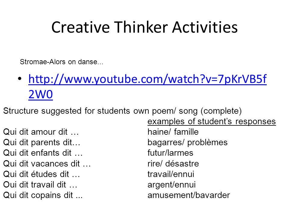 Creative Thinker Activities