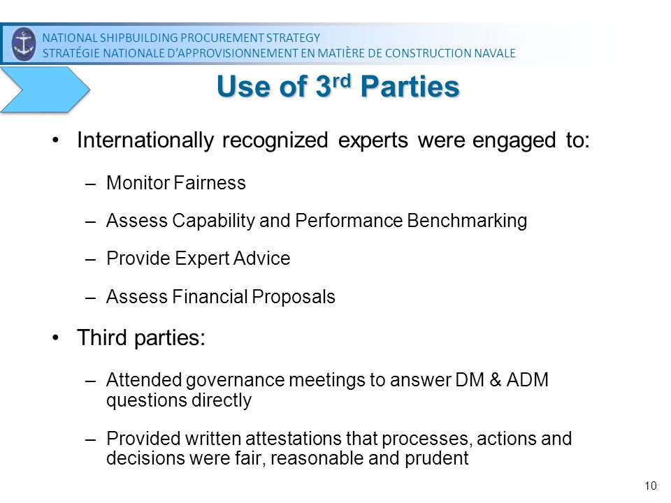 Use of 3rd Parties Internationally recognized experts were engaged to: