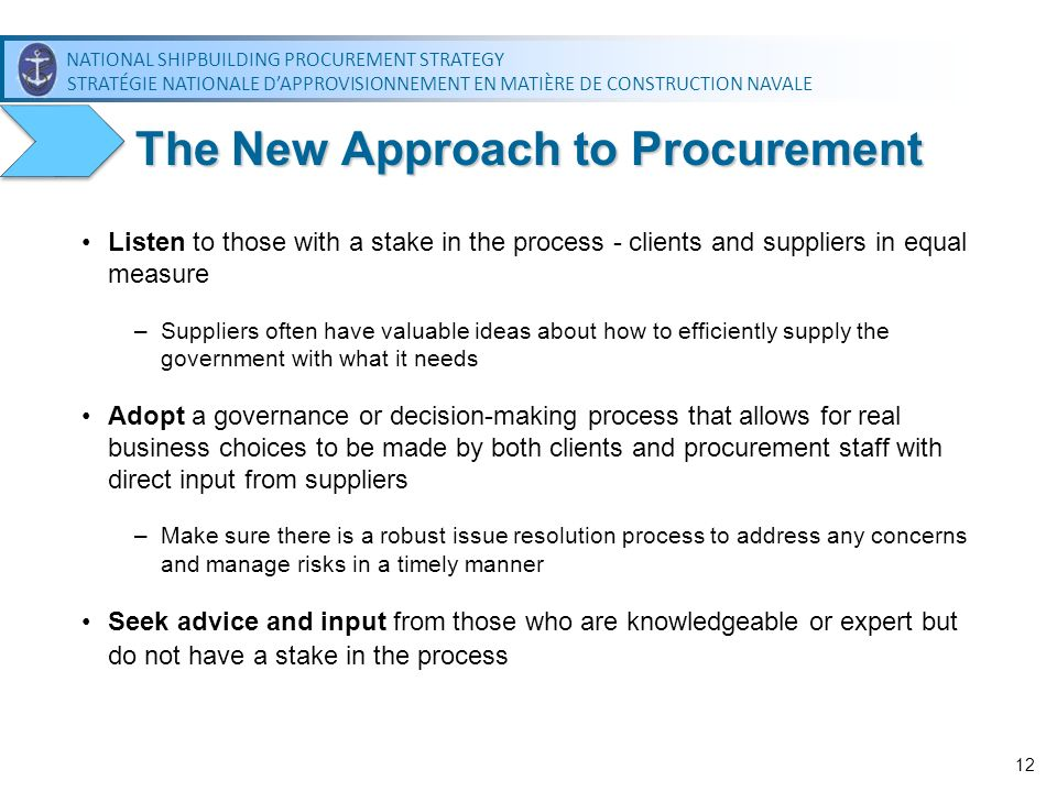 The New Approach to Procurement