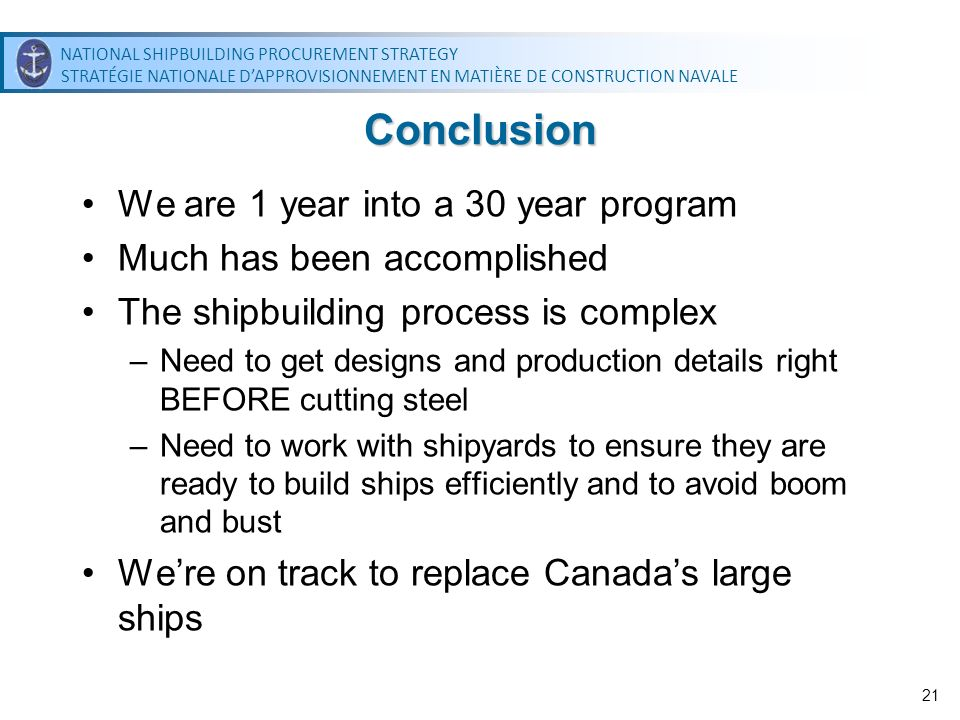 Conclusion We are 1 year into a 30 year program