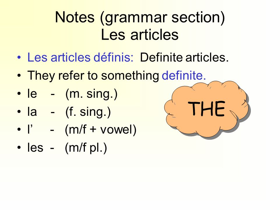 Notes (grammar section) Les articles