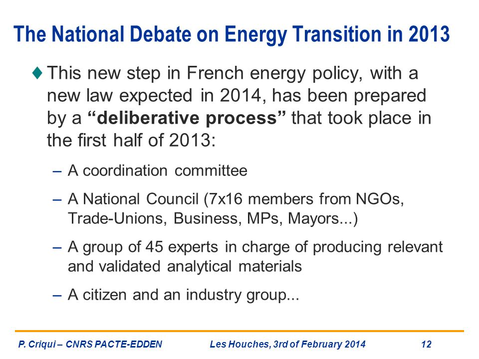The National Debate on Energy Transition in 2013