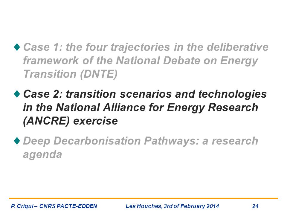 Deep Decarbonisation Pathways: a research agenda
