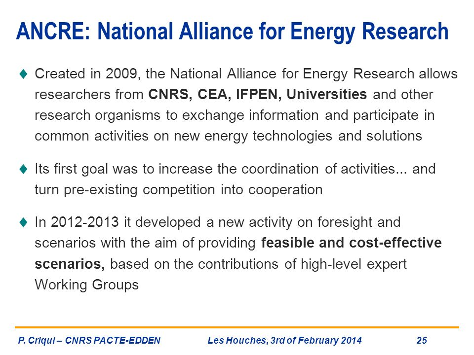 ANCRE: National Alliance for Energy Research