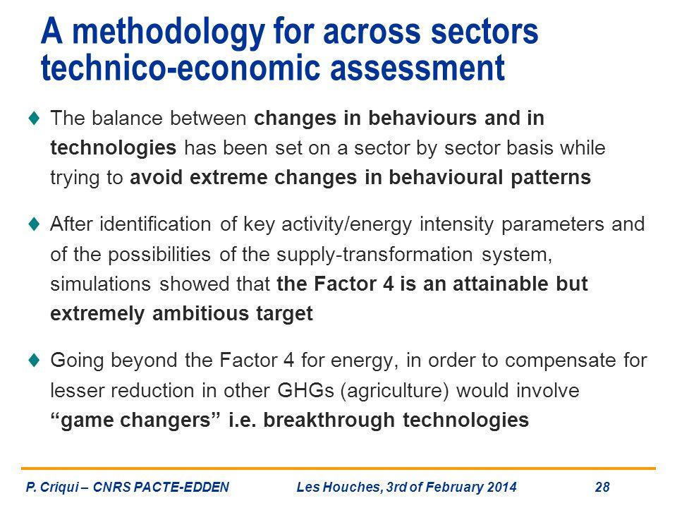 A methodology for across sectors technico-economic assessment