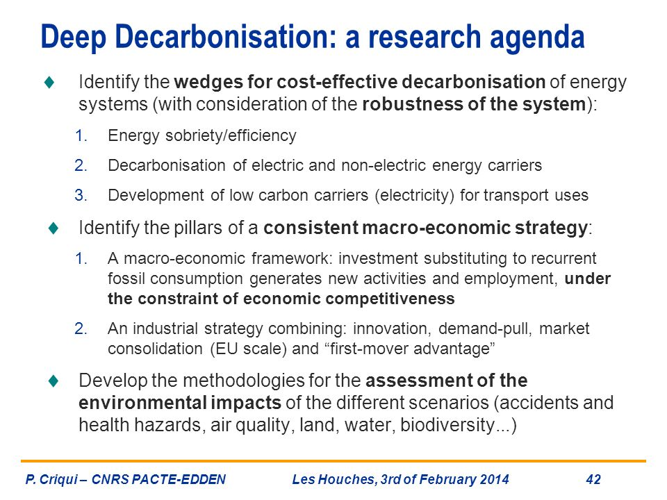 Deep Decarbonisation: a research agenda