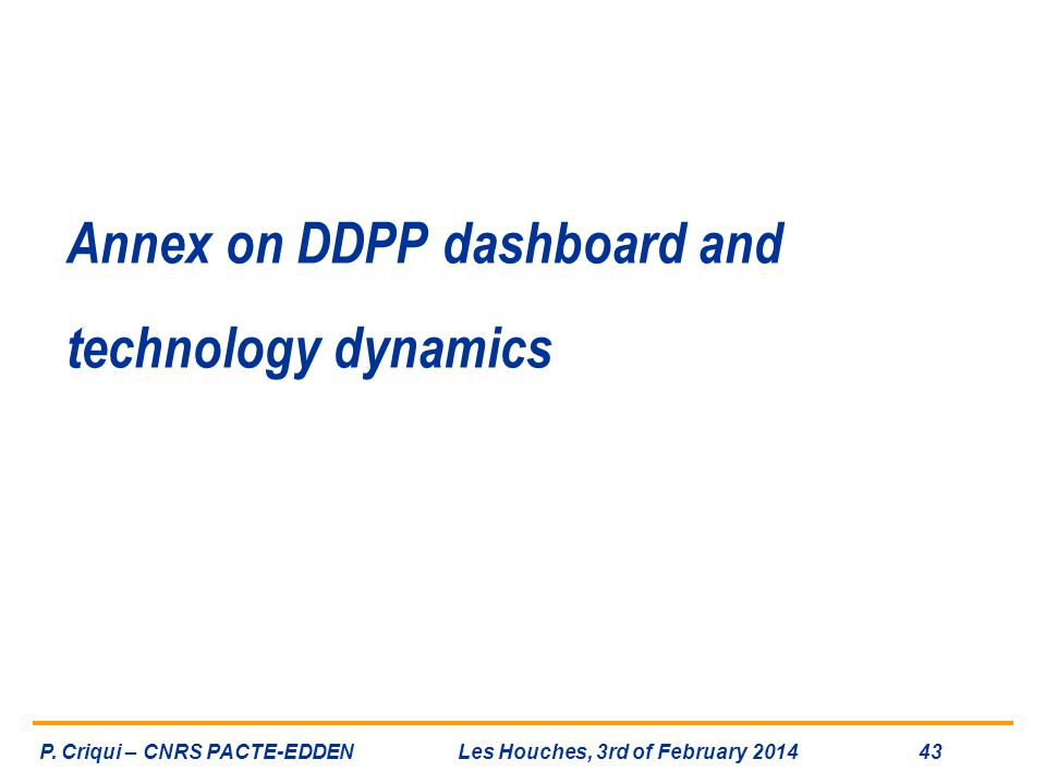 Annex on DDPP dashboard and technology dynamics