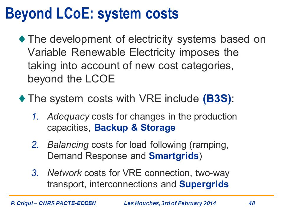 Beyond LCoE: system costs